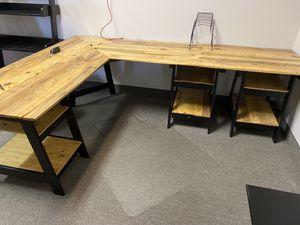Custom wooden L-shaped desk for Sale in Las Vegas, NV