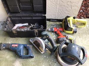 Various battery operated power tools and tool box for Sale in Tarpon Springs, FL