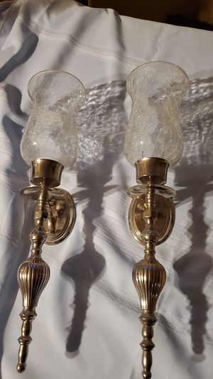 Wall Sconces with Silver Bases & Crackled Glass Toppers for Sale in San Antonio, TX