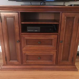 Chestnut Wood Tv Console with Storage for Sale in Wakefield, MA