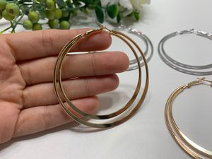 Exaggerated Large Smooth Circle Double Hoop Earring, Gold Color for Sale in Tustin, CA