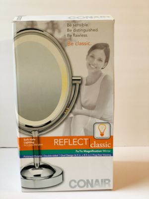 Conair Double-Sided Lighted Makeup Mirror - Lighted Vanity Mirror; 1x/7x magnification; Polished Chrome Finish for Sale in North Miami, FL