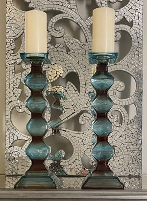 Pier 1 Large Glass Teal Pillar Candle Holders for Sale in IL, US