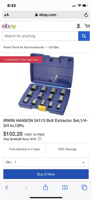Irwin 13 piece bolt extractor set for Sale in Mount Joy, PA
