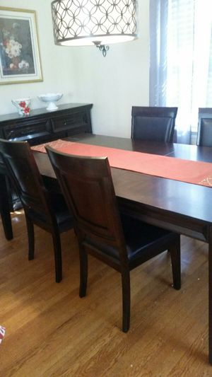 Dining Room Table with 6 Chairs and a nice Dish armoire for Sale in Falls Church, VA