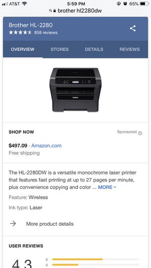 Bother HL2280DW laser wireless printer for Sale in Bloomington, IN