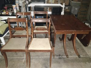 Tall city chairs 4 and Duncan Phyfe Drop Leaf table for Sale in Glendale, AZ