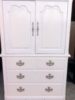 Vintage white solid wood Chest Armoire for Sale in Brandon,  FL