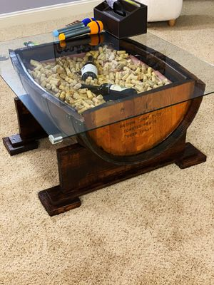 Hand made half Barrel coffee table w/LED light+Remote for Sale in Dublin, OH
