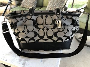 New Authentic Signature Stripe Coach Diaper Bag Tote/multifunction. Babies accessories purse general clothing for Sale in National City, CA