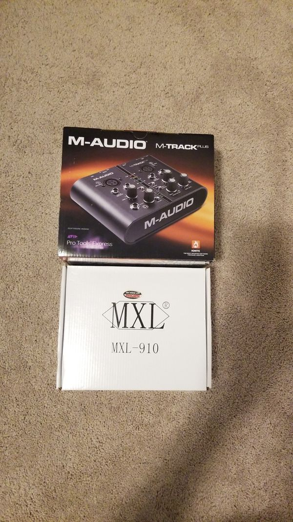 M-Audio M-Track Plus Audio Interface with Pro Tools and MXL 910 Microphone with pop filter