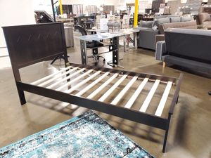 TWIN SIZE Wood Platform Bed with Headboard / No Box Spring Needed / Wood Slat Support, Cappuccino| 7582T-CP for Sale in Santa Ana, CA