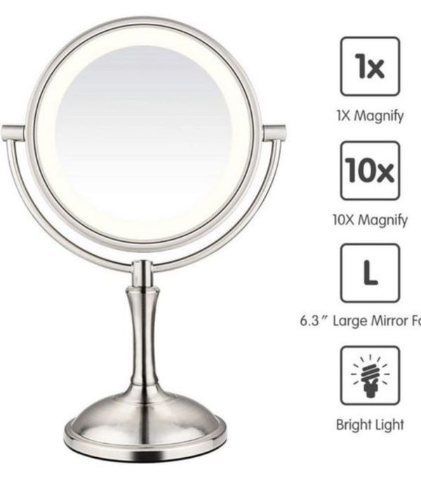 """AmnoAmno LED Makeup Mirror-10x Magnifying,7.8"""" Double Sided Lighted Vanity Makeup Mirror with Stand, Touch Button Adjustable Light-Cord or"""