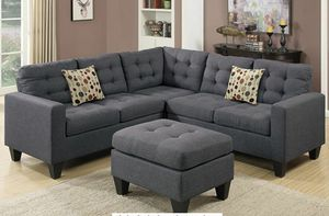 No credit needed blue gray linen like soft fabric sectional Ottoman and accent pillows for Sale in College Park, MD