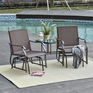 SHIPPING ONLY 3 Piece Patio Furniture Set Double Glider Chair and Tea Table for Outdoor Areas for Sale in Las Vegas, NV