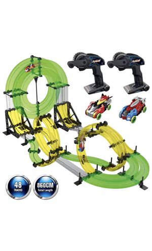 Rail Race RC Track Car Toys 860cm Build Your Own 3D Super Track Ultimate Slot Car Playset 2 Cars 2 Remote Controller Party Game Kids Friends for Sale in Corona, CA