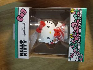 Candy Cain hello kitty ornament - hallmark - toys - cats - res + pink + animal tree toy - display - child + kids + cartoons for Sale in Naples, FL