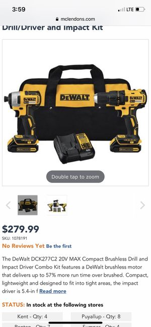 20V Max Brushless Drill and Impact Driver Combo Kit for Sale in Kent, WA