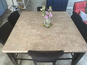 Granite top kitchen table with 6 high chair for Sale in Etiwanda, CA