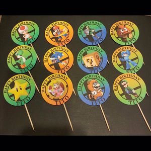 "(12) 2"" SUPER SMASH BROS MARIO SONIC ZELDA CUPCAKE TOPPERS. ANY THEME. BIRTHDAY PARTY, BABY SHOWER , QUINCEAÑERA , WEDDING , GRADUATION. for Sale in Chula Vista, CA"