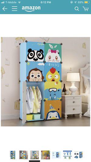 KOUSI Portable Kids Wardrobe Closet Children Dresser Hanging Storage Rack Clothes Closet Bedroom Armoire Cube Organizer Formaldehyde-Free Furniture ( for Sale in Riverside, CA