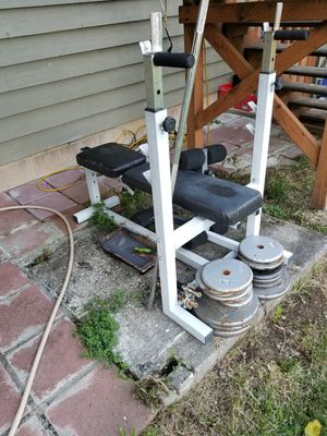 Free bench press and wights for Sale in Everett, WA
