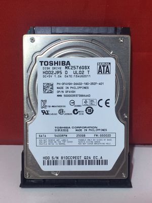 TOSHIBA CORPORATION SERIAL ATA MK2576GSX 250GB Internal Laptop Hard Drive for Sale in Bloomfield, NJ