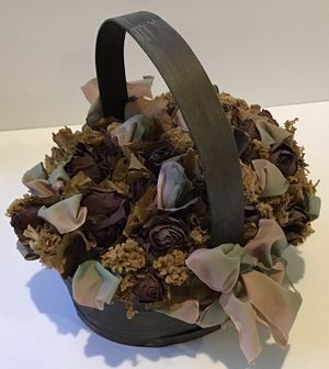 Beautiful Wood Basket with Dried Roses/Foliage/Ribbon for Sale in Bluffton, SC
