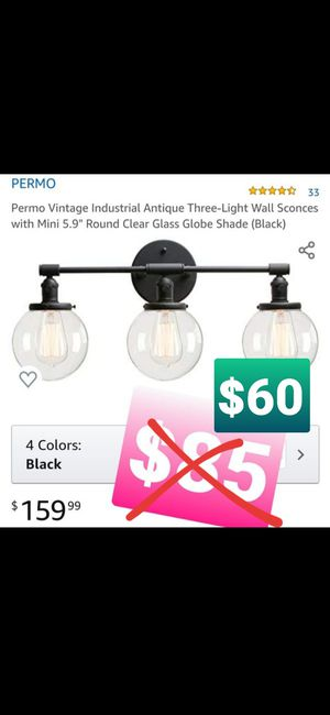 """Permo Vintage Industrial Antique Three-Light Wall Sconces with Mini 5.9"""" Round Clear Glass Globe Shade, Luz de pared for Sale in Chino, CA"""