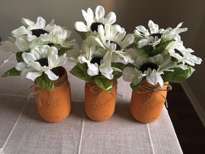 Distressed mason jar vases with flowers included!! Jar/flower choices shown in photos for Sale in Joliet, IL