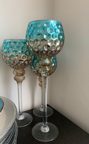3 turquoise and gold candle holders for Sale in Sudley Springs, VA