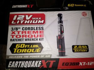 "Earthquake XT 12V Max Lithium 3/8"" Cordless Xtreme Torque Ratchet Wrench Kit for Sale in Denver, CO"