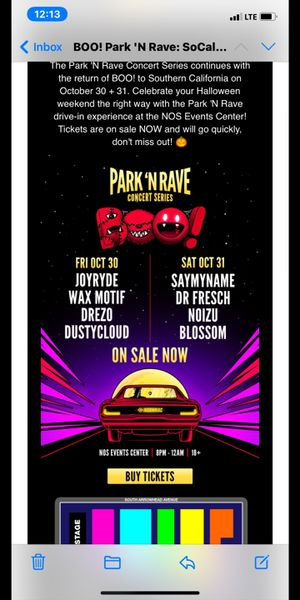 Insomniac Park N Rave Boo for Oct 31st for Sale in Garden Grove, CA