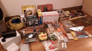 Brand new nail gun , trailer lights , 12.2 wire framing brsckets ,tile, screws,track loght ,table saw blads etc....... for Sale in Wood Village, OR