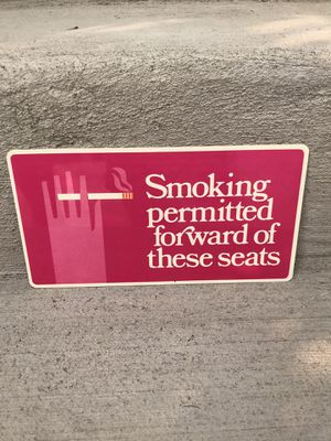 1960s Smoking Permitted Bus Sign for Sale in Seattle, WA
