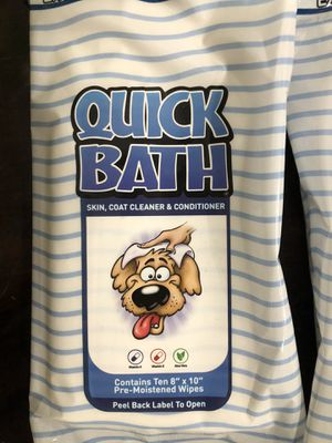 Quick Bath Pet Towelettes, Removes Odor for Sale in Richardson, TX