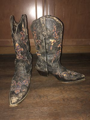 Vintage Style Laredo Cowboy Boots with leopard inset women's 8 for Sale in Lewisville, TX