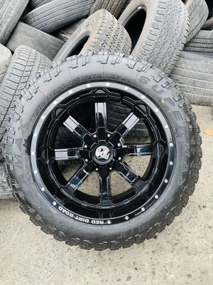 20x10 All gloss black new rims and mud RT off road tires 6 lug Chevy gmc Toyota Nissan Ford for Sale in Modesto, CA