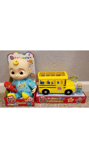 """NEW Set of COCOMELON Toys JJ Doll Soft 10"""" Plush and Musical School Bus Youtube Bundle for Sale in Los Angeles, CA"""