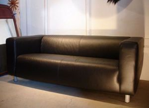 IKEA Black Leather Couch for Sale in Alexandria, VA