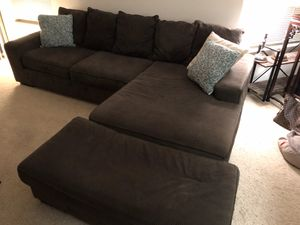 Dark Gray Sectional Couch with Ottoman 7.5 feet by 9.5 feet for Sale in Arlington, VA