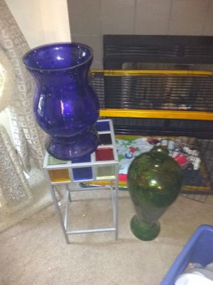 Hand blown color stain vase really nice an rare bar stool for Sale in Mesa, AZ