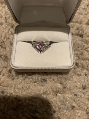 18KW Pink Sapphire & Diamond ring set for Sale in Chester, VA