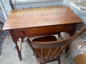 Antique desk with drawer and fancy chair for Sale in Annandale, VA