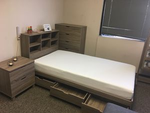 Twin Size 3-Drawer Storage Bed Frame with Bookcase Headboard, Dark Taupe for Sale in Santa Ana, CA