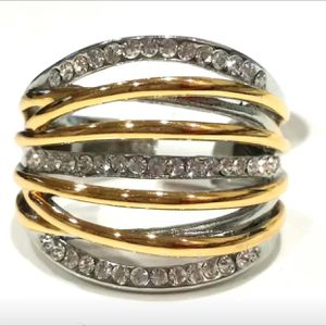 Gold plated wrap layers cross over ring for Sale in Silver Spring, MD