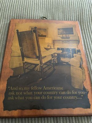 JFK immortal words on a Picturesque Antique wood finish wood for Sale in North Haven, CT
