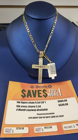 14K Figaro Chain with 10K Cross Charm for Sale in Tampa, FL
