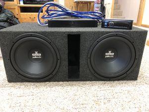 """2 12"""" Polk Audio DB's in box w/ amp and alpine stereo for Sale in Kingsley, MI"""