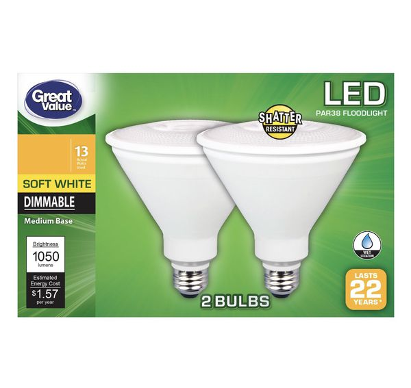 New Great Value Soft White Dimmable 2 Pack Led Bulbs For